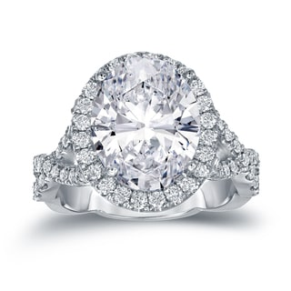 Auriya Platinum 5 3/4ct TDW Certified Oval Diamond Halo Engagement Ring (H-I, SI1-SI2)