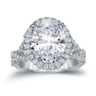 Auriya Platinum 5 3/4ct TDW Twisted Double Shank Certified Oval-Cut Diamond Halo Engagement Ring