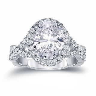 Auriya Platinum 3 1/8ct TDW Certified Oval Diamond Halo Engagement Ring (H-I, SI1-SI2)