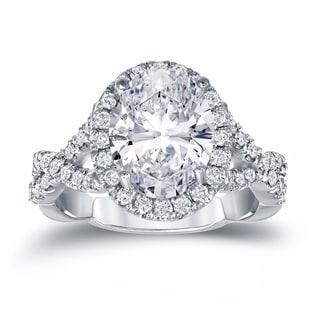 Auriya Platinum 3 1/8ct TDW Certified Oval Diamond Halo Engagement Ring