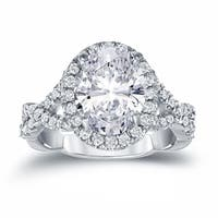Auriya Platinum 3 1/8ct TDW Twisted Double Shank Certified Oval-Cut Diamond Halo Engagement Ring
