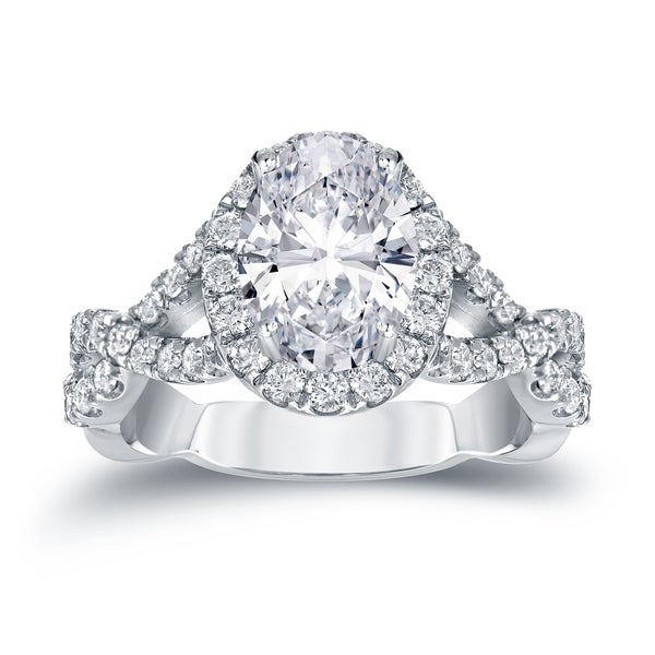 Auriya Platinum 2 1/8ct TDW Certified Oval-Cut Infinity Double Halo Diamond Engagement Ring