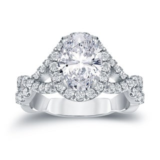 Auriya Platinum 2 1/8ct TDW Certified Oval Diamond Halo Engagement Ring (H-I, SI1-SI2)