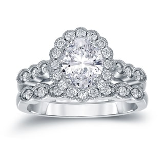 Auriya Platinum 2 1/6ct TDW Certified Oval Diamond Halo Bridal Ring Set (H-I, SI1-SI2)