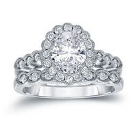 Auriya Platinum 2 1/6ct TDW Vintage Certified Oval-Cut Diamond Halo Engagement Ring Bridal Set