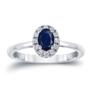 Auriya Platinum 1/2ct Oval Cut Blue Sapphire and 1/10ct TDW Diamond Halo Engagement Ring (H-I, SI1-SI2)