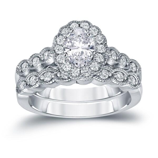 Auriya Platinum 1 3/5ctw Vintage Halo Oval Diamond Engagement Ring Set Certified. Opens flyout.