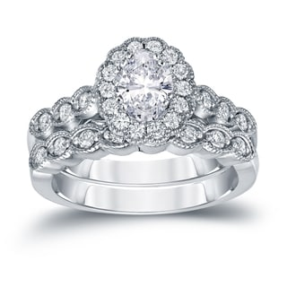 Auriya Platinum 1 3/5ct TDW Certified Oval Diamond Halo Bridal Ring Set (H-I, SI1-SI2)