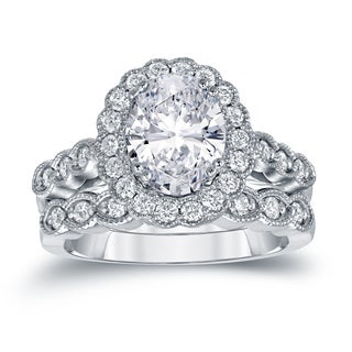 Auriya Platinum 3 1/8ct TDW Certified Oval Diamond Halo Bridal Ring Set