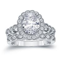 Platinum Vintage Inspired 3 1/8ct TDW Oval Diamond with Halo Engagement Ring Set by Auriya