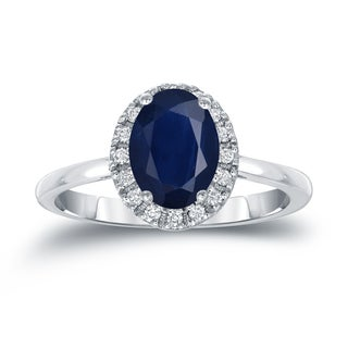 Auriya Platinum 1ct Oval Cut Blue Sapphire and 1/8ct TDW Diamond Halo Engagement Ring (H-I, SI1-SI2)