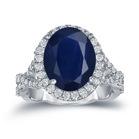 Auriya Platinum 5ct Oval-Cut Blue Sapphire and 3/4ct TDW Halo Diamond Engagement Ring