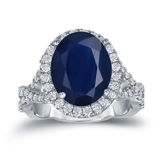 Auriya Platinum 5ct Oval Cut Blue Sapphire and 3/4ct TDW Diamond Halo Engagement Ring (H-I, SI1-SI2)