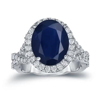 Auriya Platinum 5ct Oval Cut Blue Sapphire and 3/4ct TDW Diamond Halo Engagement Ring (H-I, SI1-SI2)|https://ak1.ostkcdn.com/images/products/13404509/P20100050.jpg?impolicy=medium