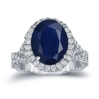 Auriya Platinum 5ct Oval-Cut Blue Sapphire and 3/4ct TDW Halo Diamond Engagement Ring