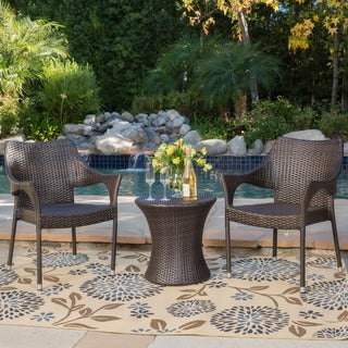 Mirage Outdoor 3-piece Wicker Stacking Chair Chat Set by Christopher Knight Home