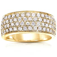 Annello by Kobelli 14k Yellow Gold 1ct TDW Diamond Pave Wide Anniversary Ring