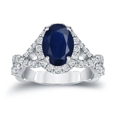 Auriya Platinum 1 1/2ct Blue Sapphire Oval Halo Diamond Engagement Ring 3/5ctw