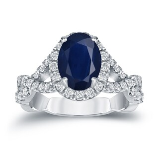 Auriya Platinum 1 1/2ct Oval Cut Blue Sapphire and 3/5ct TDW Diamond Halo Engagement Ring (H-I, SI1-SI2)