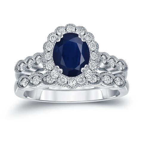 Auriya 1 1/2ctw Oval Blue Sapphire & Diamond Engagement Ring Set 3/5ctw Platinum