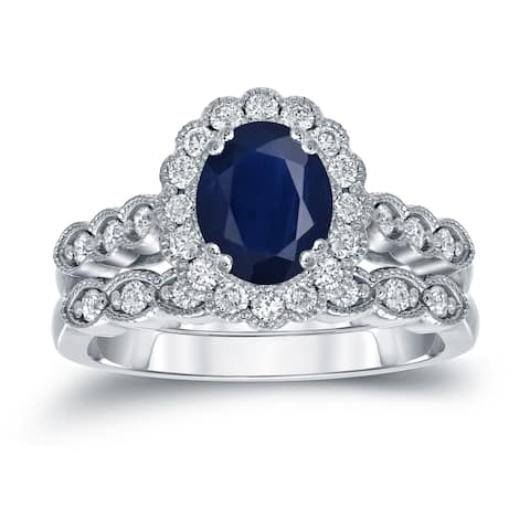 Auriya Platinum 1 1/2ctw Oval Blue Sapphire & Diamond Engagement Ring Set 3/5ctw