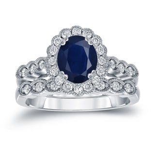 Auriya Platinum 1 1/2ct Oval Cut Blue Sapphire and 3/5ct TDW Diamond Halo Bridal Ring Set (H-I, SI1-SI2)