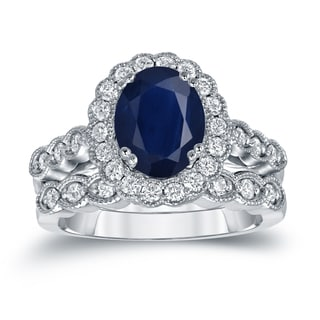 Auriya Platinum 2 1/2ct Oval Cut Blue Sapphire and 3/5ct TDW Diamond Halo Bridal Ring Set (H-I, SI1-SI2)