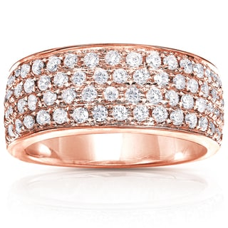 Annello by Kobelli 14k Rose Gold 1ct TDW Diamond Pave Wide Anniversary Ring (G-H, I1-I2)