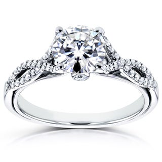 Annello 14k White Gold Moissanite and 1/6ct TDW Diamond Crossover Ring (H-I, I1-I2)