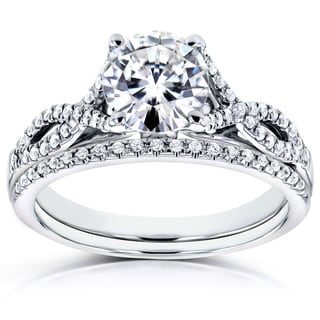 Annello by Kobelli 14k White Gold Moissanite (HI) and 1/5ct TDW Diamond Crossover Bridal Rings Set (H-I, I1-I2)