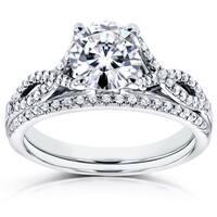 Annello by Kobelli 14k White Gold Moissanite (HI) and 1/5ct TDW Diamond Crossover Bridal Rings Set (H-I, I1-I2)