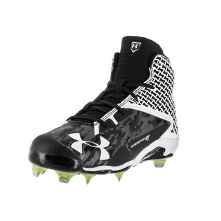 Under Armour Men's UA Deception Mid White Fabric Baseball Cleat