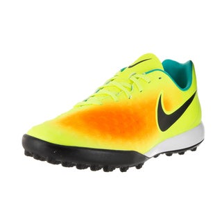 Nike Men's Magistax Onda II Volt Black and Total Orange Fabric Turf Soccer Shoes