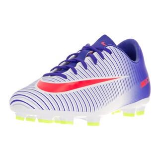 Nike Kid's JR Mercurial Vapor XI White/Bright Crimson Plastic Soccer Cleats