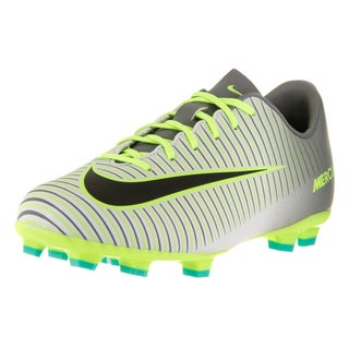 Nike Kids Jr Mercurial Vapor XI Pure Platinum, Black, Ghost Green, and Clear Jade Synthetic Soccer Cleats