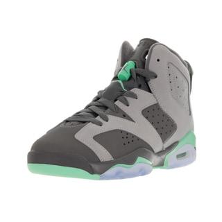 Nike Jordan Kids' Air Jordan 6 Retro Cement Gray, Green Glow, Dark Grey, and Green Basketball Shoes