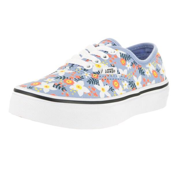 5e4d6f75133e Vans Kids Authentic Girls  x27  Bel Air Floral Pop Blue Canvas Skate Shoe