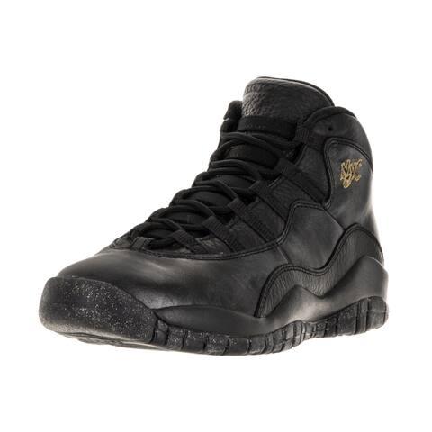 e672f1f0f6c165 Nike Jordan Kids  Air Jordan 10 Retro Black Leather Basketball Shoe