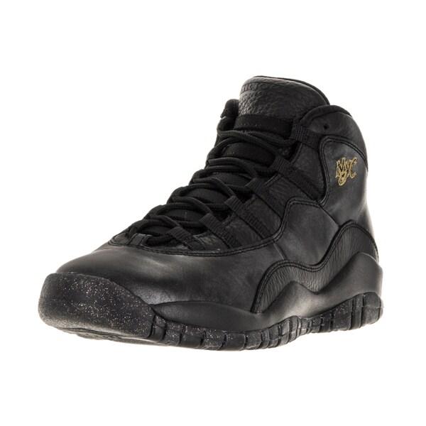 size 40 e5cd8 1c124 Nike Jordan Kids' Air Jordan 10 Retro Black Leather Basketball Shoe