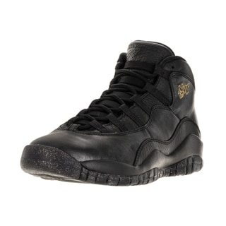 Nike Jordan Kids' Air Jordan 10 Retro Black Leather Basketball Shoe