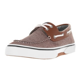 Sperry Top-Sider Men's Halyard Chocolate and Tan Canvas Boat Shoes