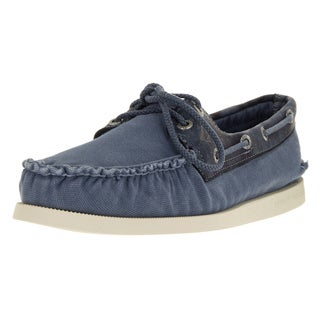 Sperry Top Sider Men's Authentic Original Wedge Blue Canvas Boat Shoe