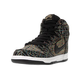 Nike Men's Dunk High Premium SB Black/Black Rainbow White Skate Shoe