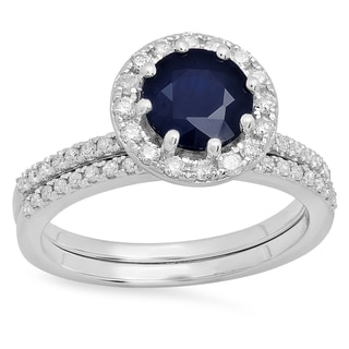 10k Gold 2 1/2ct Round Blue Sapphire and White Diamond Halo Engagement Ring Set (I-J/Blue, I1-I2/Highly Included)