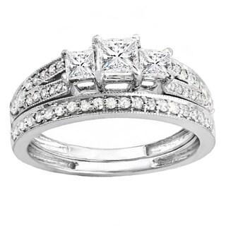 18k Gold 1ct TDW Princess and Round Cut 3 Stone White Diamond Bridal Ring Set (H-I, I1-I2)