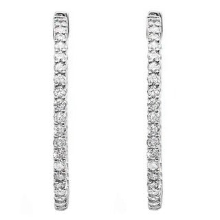 14k Gold 7/8ct TDW Round White Diamond In and Out Hoop Earrings (H-I, I1-I2)