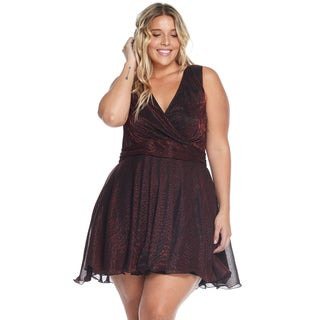 Hadari Women's Plus Size Sexy Sleeveless Burgundy Evening Party Short Dress
