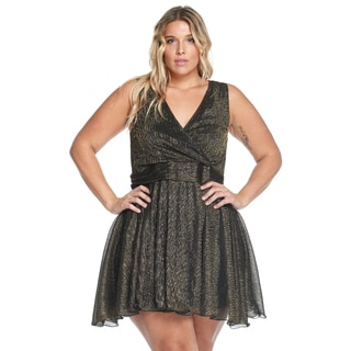 Hadari Women's Plus Size Sexy Sleeveless Gold Evening Party Short Dress