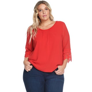 Hadari Women's Plus Size Casual Sexy Loose Crochet Orange Blouse Top