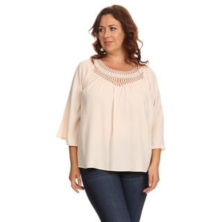 Hadari Women's Plus Size Casual Loose Ivory Crochet Blouse Shirt Tops